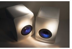 KEF LS-50 Speakers – Blue and White